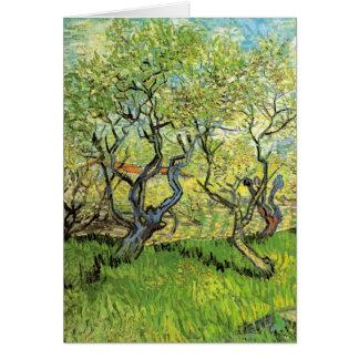 Van Gogh Orchard in Blossom, Vintage Landscape Art Greeting Card