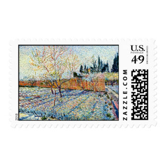 Van Gogh - Orchard with Peach Trees in Blossom Postage