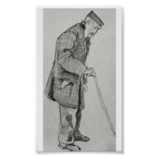Van Gogh - Orphan Man with Cap and Walking Stick Poster