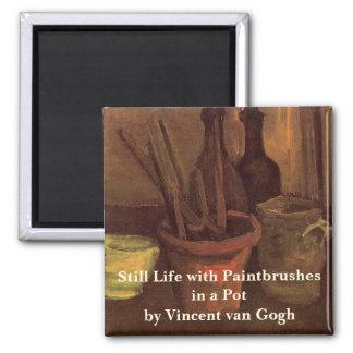 Van Gogh Paintbrushes in a Pot, Vintage Still Life Magnet
