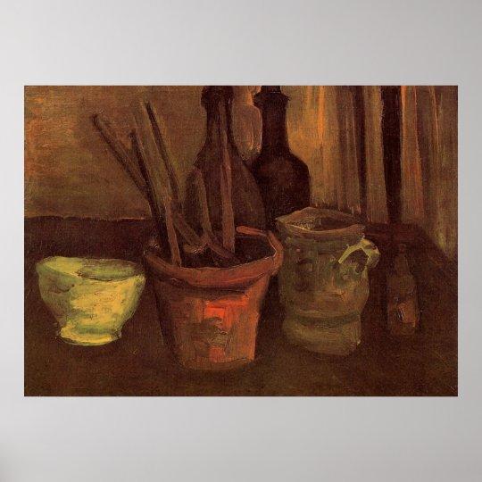 Van Gogh Paintbrushes in a Pot, Vintage Still Life Poster