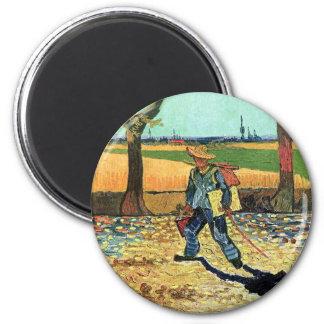 Van Gogh - Painter On His Way To Work 2 Inch Round Magnet