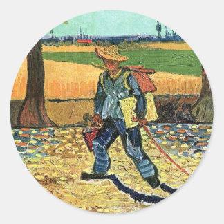 Van Gogh - Painter On His Way To Work Classic Round Sticker