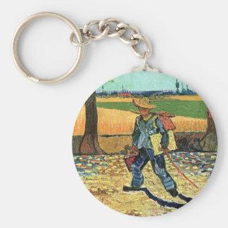 Van Gogh - Painter On His Way To Work Basic Round Button Keychain