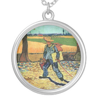 Van Gogh - Painter On His Way To Work Round Pendant Necklace
