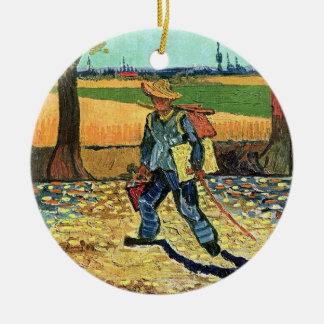 Van Gogh - Painter On His Way To Work Double-Sided Ceramic Round Christmas Ornament