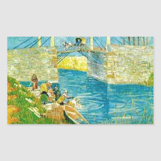 Van Gogh Painting Langlois Brige at Arles Rectangular Sticker