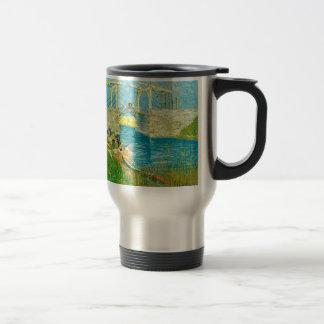Van Gogh Painting Langlois Brige at Arles Travel Mug