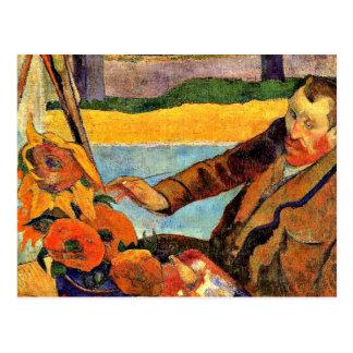 Van Gogh Painting Sunflowers, artwork by Gauguin Postcard