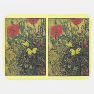 Van Gogh Painting Whimsical Blossoms Flowers Vines Receiving Blanket