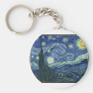 Van Gogh Paintings: Starry Night Van Gogh Basic Round Button Keychain