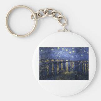 Van Gogh Paintings: Starry Night Van Gogh Rhone Basic Round Button Keychain