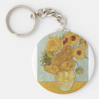 Van Gogh Paintings: Van Gogh Sunflowers Basic Round Button Keychain