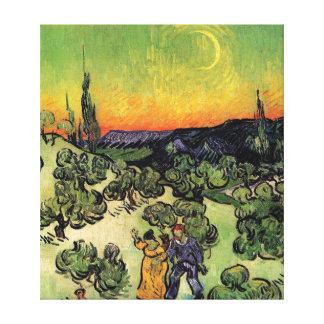 Van Gogh - paisaje con caminar de los pares Impresiones En Lona