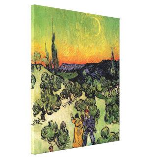 Van Gogh - paisaje con caminar de los pares Lienzo Envuelto Para Galerías