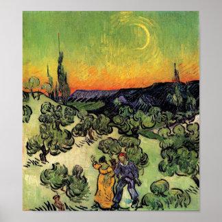 Van Gogh - paisaje con caminar de los pares Impresiones