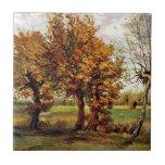 Van Gogh - paisaje del otoño con cuatro árboles Tejas