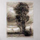 Van Gogh - paisaje en clima tempestuoso Poster