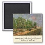 Van Gogh, París: Camino con el campesino, arte del Imanes De Nevera