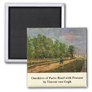 Van Gogh, Paris: Road with Peasant, Vintage Art Refrigerator Magnets