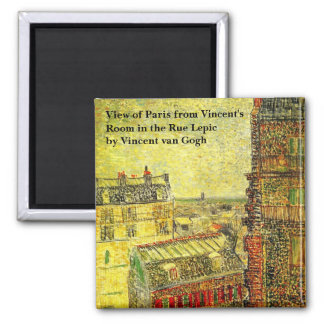 Van Gogh Paris View from Vincent's Room, Rue Lepic 2 Inch Square Magnet