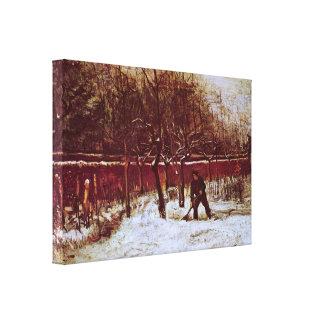 Van Gogh; Parsonage Garden at Nuenen in the Snow Stretched Canvas Print
