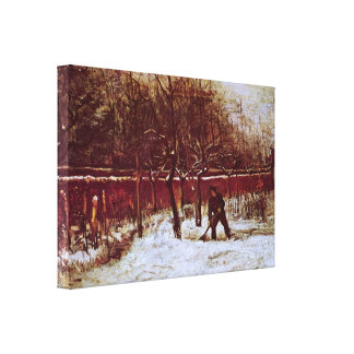 Van Gogh; Parsonage Garden at Nuenen in the Snow Canvas Print
