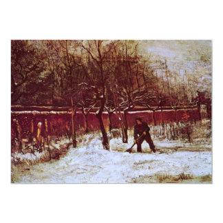 Van Gogh; Parsonage Garden at Nuenen in the Snow 5x7 Paper Invitation Card