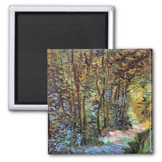 Van Gogh Path In The Woods Magnet 2 Inch Square Magnet