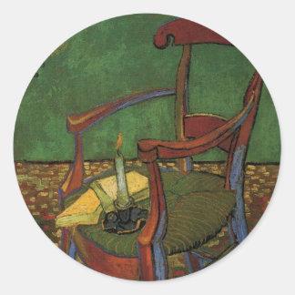 Van Gogh Paul Gauguin's Armchair, Vintage Art Classic Round Sticker