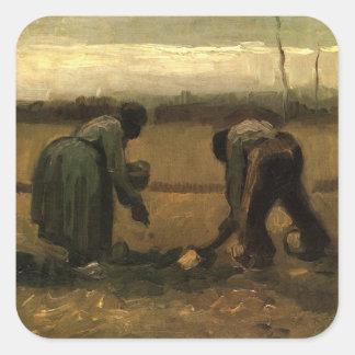 Van Gogh Peasant and Peasant Woman Planting Potato Square Sticker