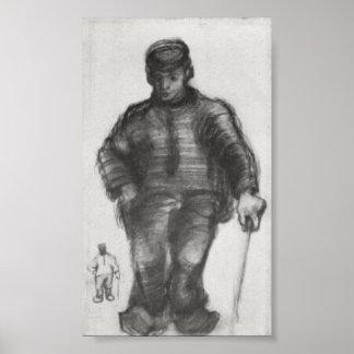 Van Gogh - Peasant with Walking Stick Posters
