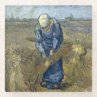 Van Gogh Peasant Woman Binding Sheaves Glass Coaster