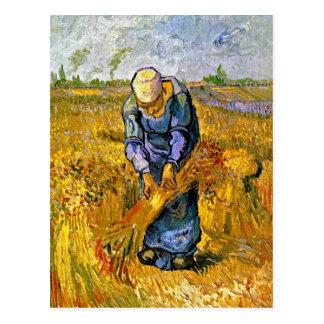 Van Gogh Peasant Woman Binding Sheaves Postcard
