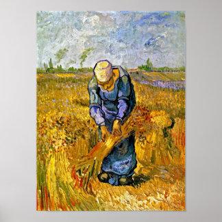 Van Gogh - Peasant Woman Binding Sheaves Poster