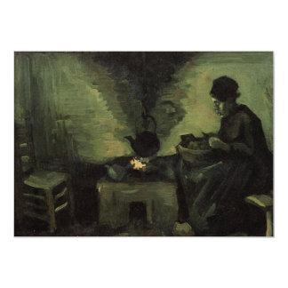 Van Gogh; Peasant Woman by Fireplace, Vintage Art Card