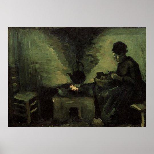 Van Gogh; Peasant Woman by Fireplace, Vintage Art Poster