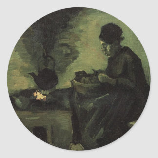 Van Gogh; Peasant Woman by Fireplace, Vintage Art Classic Round Sticker