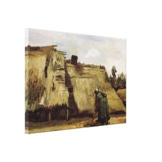 Van Gogh, Peasant Woman Digging, Front of Cottage Canvas Print