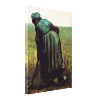 Van Gogh, Peasant Woman Digging, Vintage Farmer Canvas Print