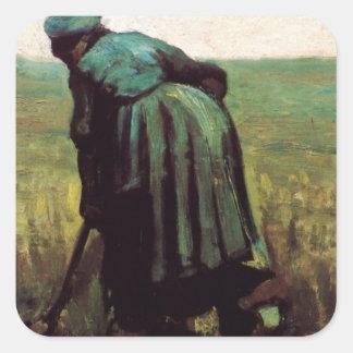 Van Gogh, Peasant Woman Digging, Vintage Farmer Square Sticker