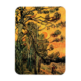 Van Gogh - Pine Trees Against A Red Sky Rectangular Magnet