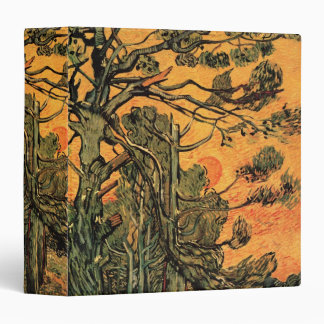Van Gogh Pine Trees Against Red Sky w Setting Sun Binder