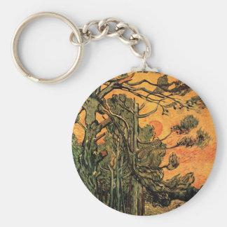 Van Gogh Pine Trees Against Red Sky w Setting Sun Keychain