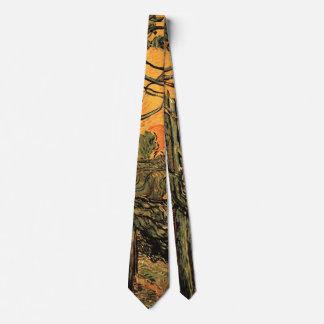 Van Gogh Pine Trees Against Red Sky w Setting Sun Neck Tie