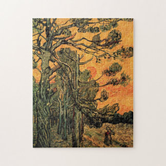 Van Gogh Pine Trees Against Red Sky w Setting Sun Puzzles