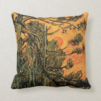 Van Gogh Pine Trees Against Red Sky w Setting Sun Throw Pillow