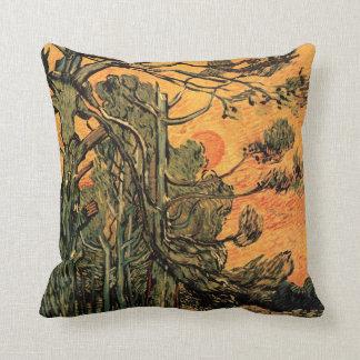 Van Gogh Pine Trees Against Red Sky w Setting Sun Throw Pillow