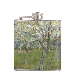 Van Gogh pink orchard Hip Flask