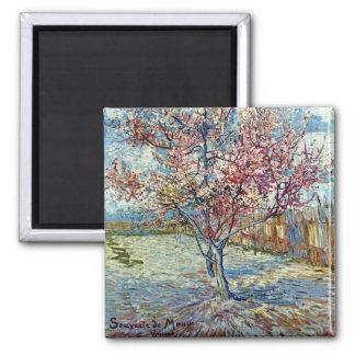 Van Gogh Pink Peach Tree (F394) Fine Art 2 Inch Square Magnet